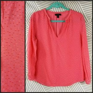J Crew Pink Silk Blouse Puffed Puff Sleeve Shirt 6